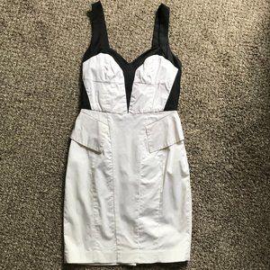 formal fitting black/ white BEBE mini dress